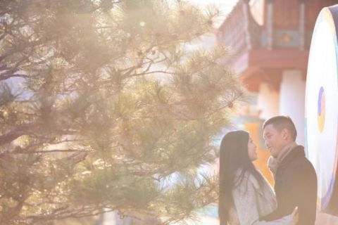 Seoul Korean Temple Engagement Photographer