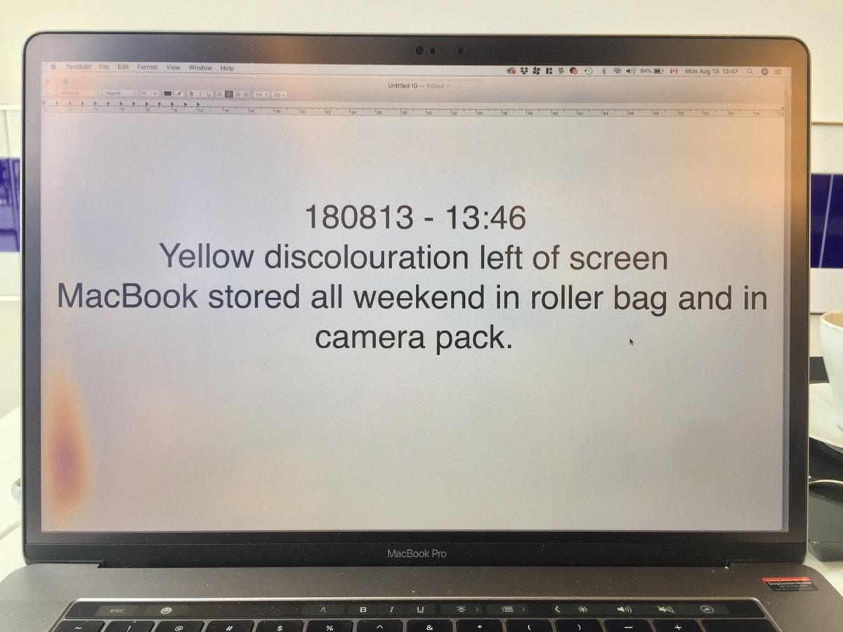 Macbook Pro Screen Discoloration/Spots (15