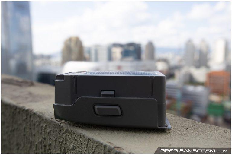 Swollen Mavic 2 battery on rooftop ledge.